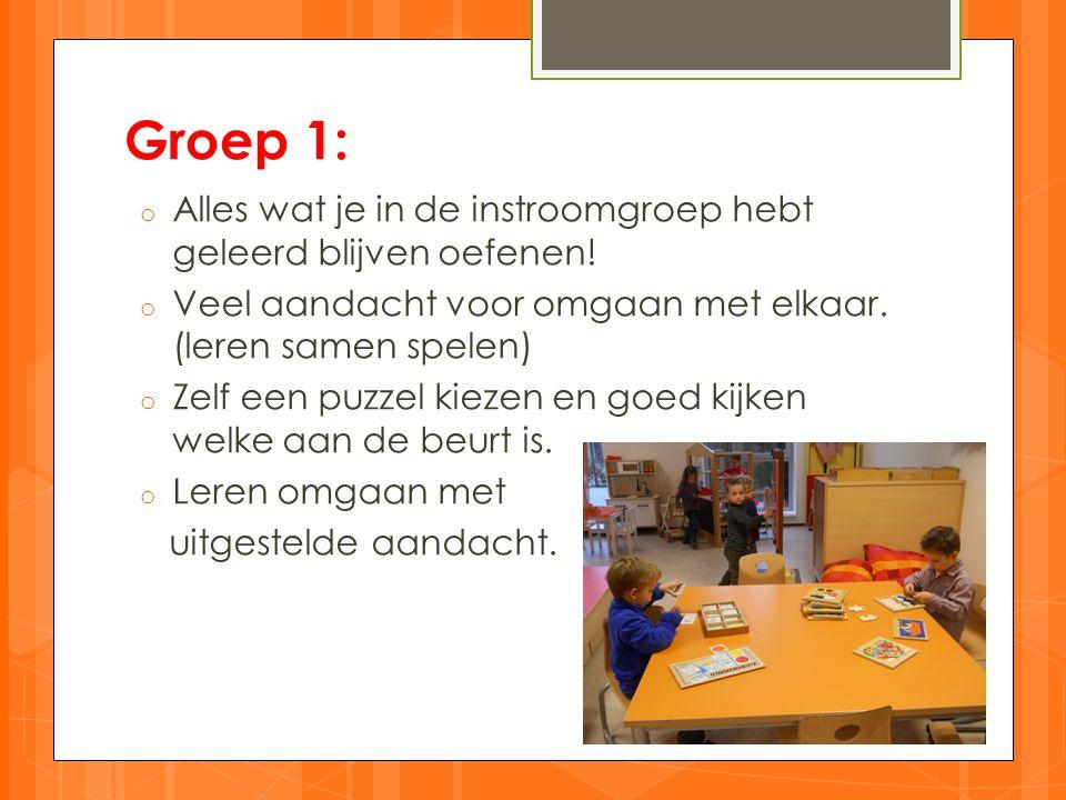Groep 1: Alles wat je in de instroomgroep hebt geleerd blijven oefenen! Veel aandacht voor omgaan met elkaar. (leren samen spelen)