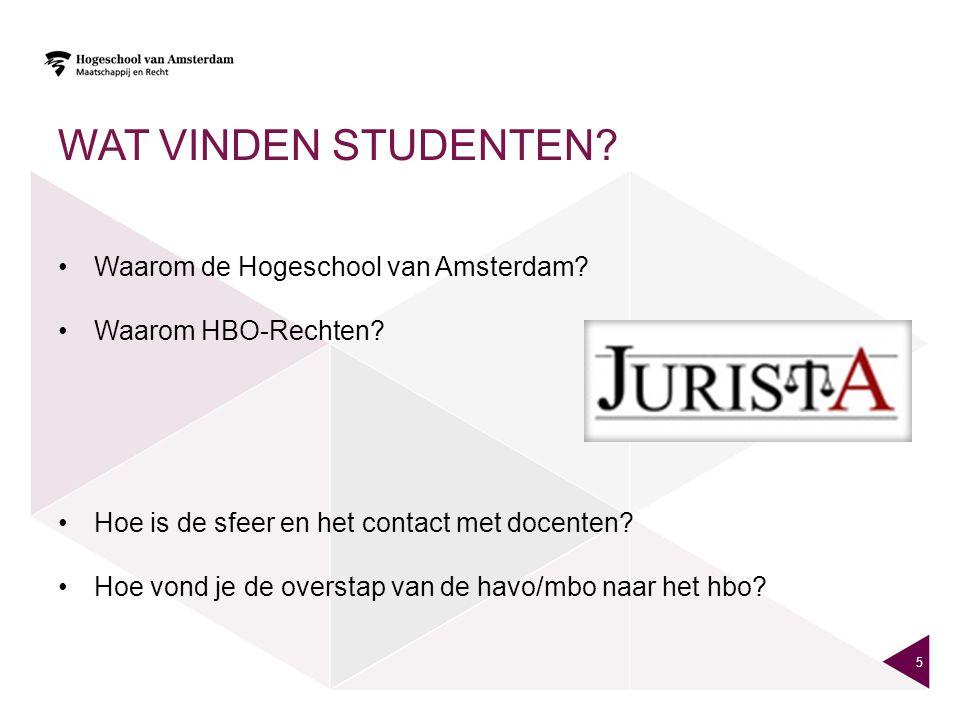 WAT VINDEN STUDENTEN Waarom de Hogeschool van Amsterdam