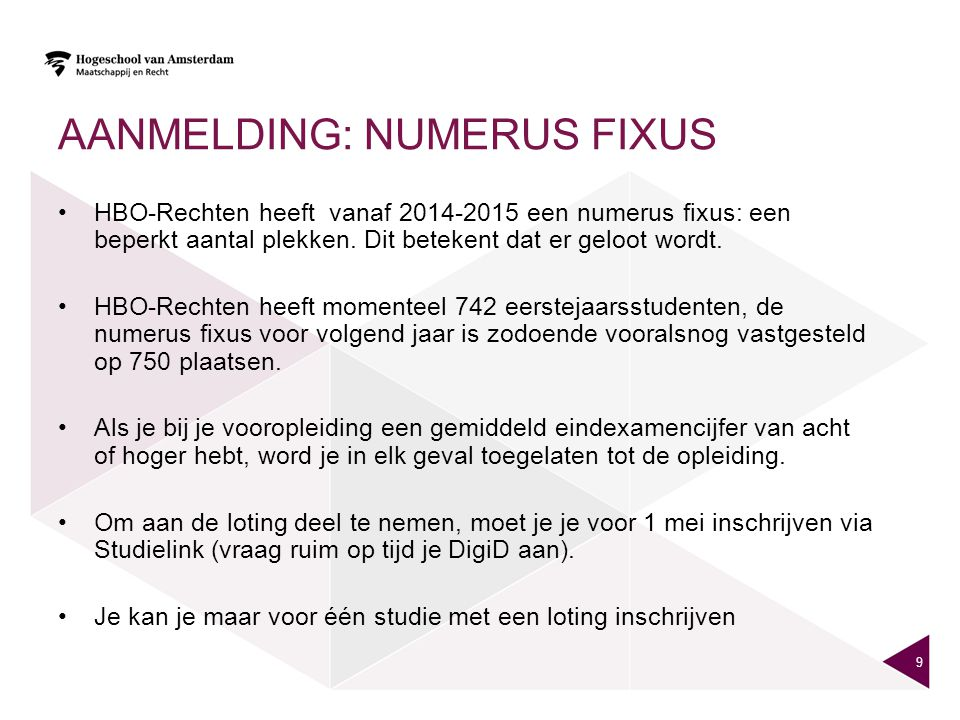 Aanmelding: Numerus fixus