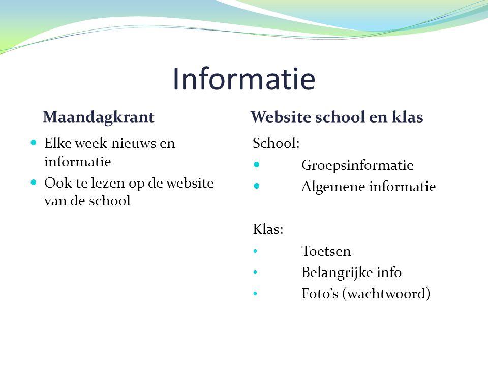 Informatie Maandagkrant Website school en klas