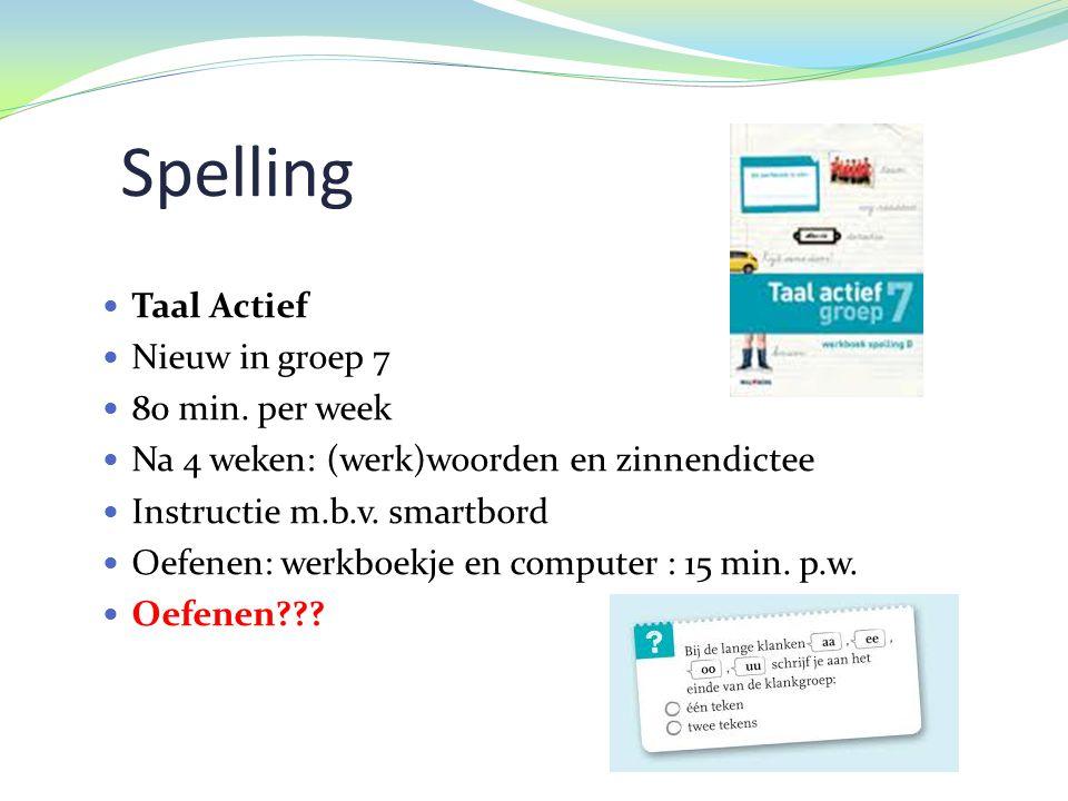 Spelling Taal Actief Nieuw in groep 7 80 min. per week