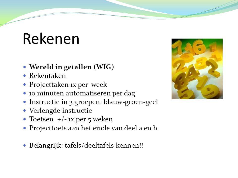 Rekenen Wereld in getallen (WIG) Rekentaken Projecttaken 1x per week