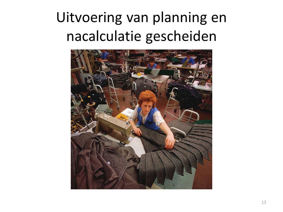 Uitvoering van planning en nacalculatie gescheiden