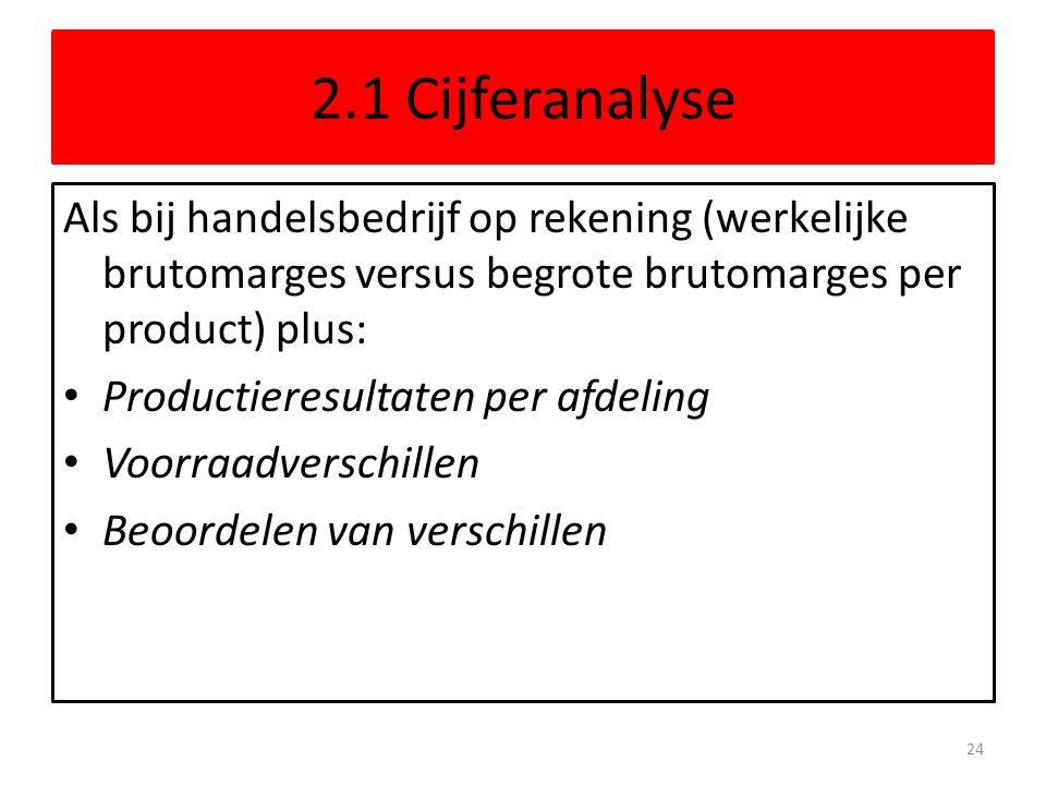 2.1 Cijferanalyse Als bij handelsbedrijf op rekening (werkelijke brutomarges versus begrote brutomarges per product) plus: