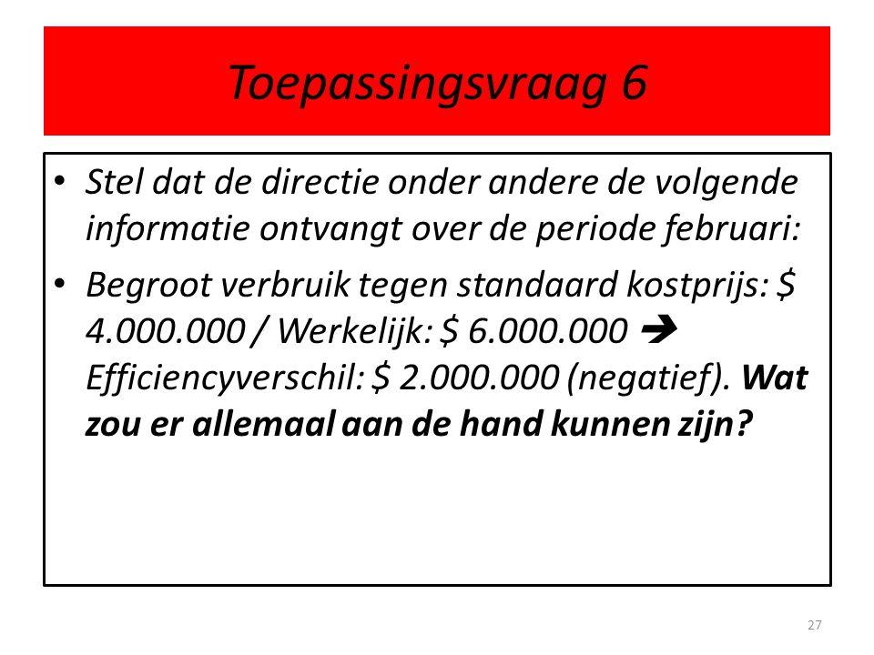 Toepassingsvraag 6 Stel dat de directie onder andere de volgende informatie ontvangt over de periode februari:
