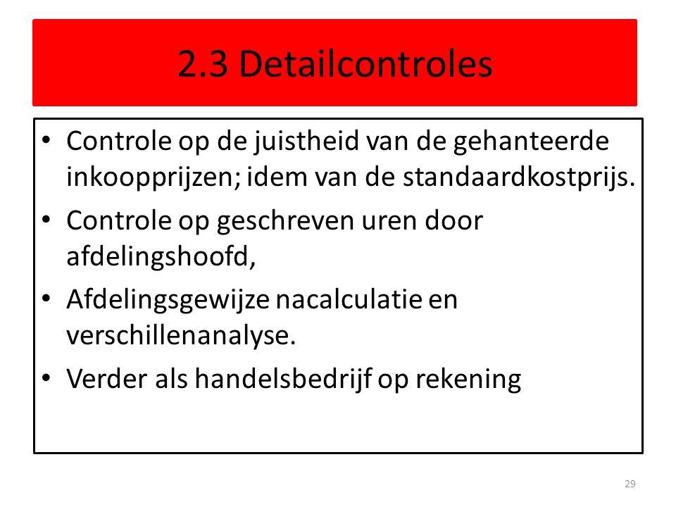 2.3 Detailcontroles Controle op de juistheid van de gehanteerde inkoopprijzen; idem van de standaardkostprijs.
