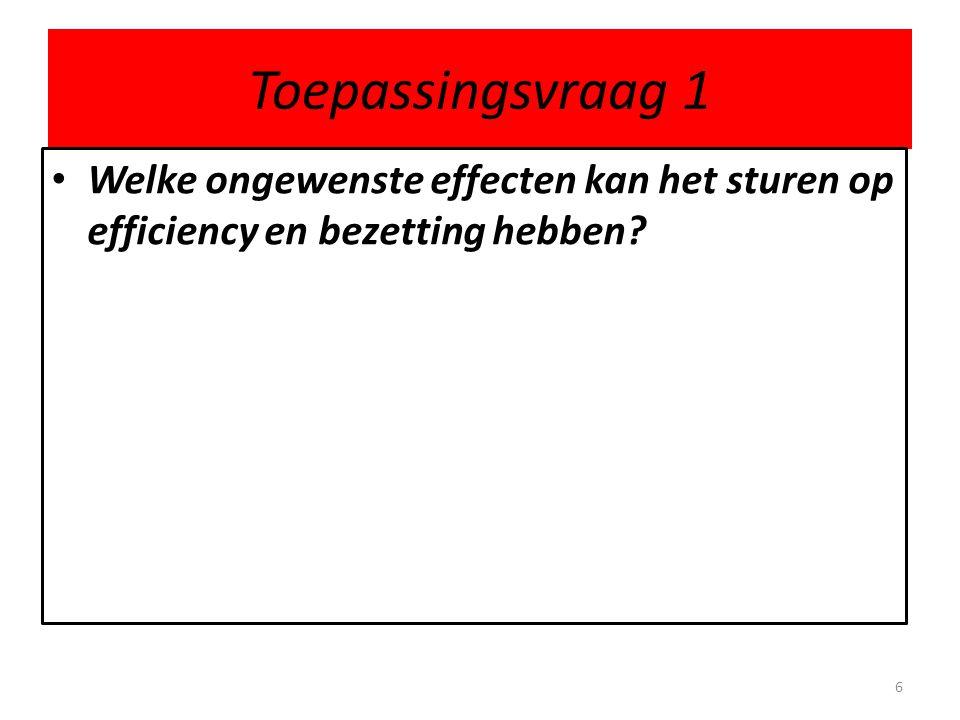 Toepassingsvraag 1 Welke ongewenste effecten kan het sturen op efficiency en bezetting hebben