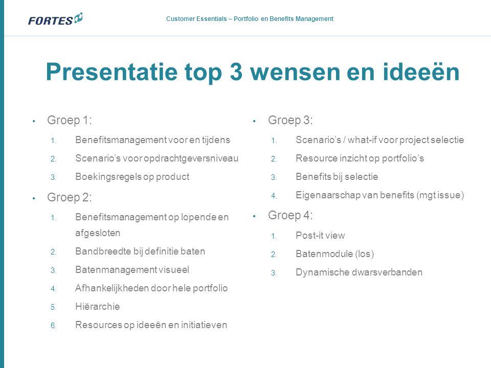 Presentatie top 3 wensen en ideeën
