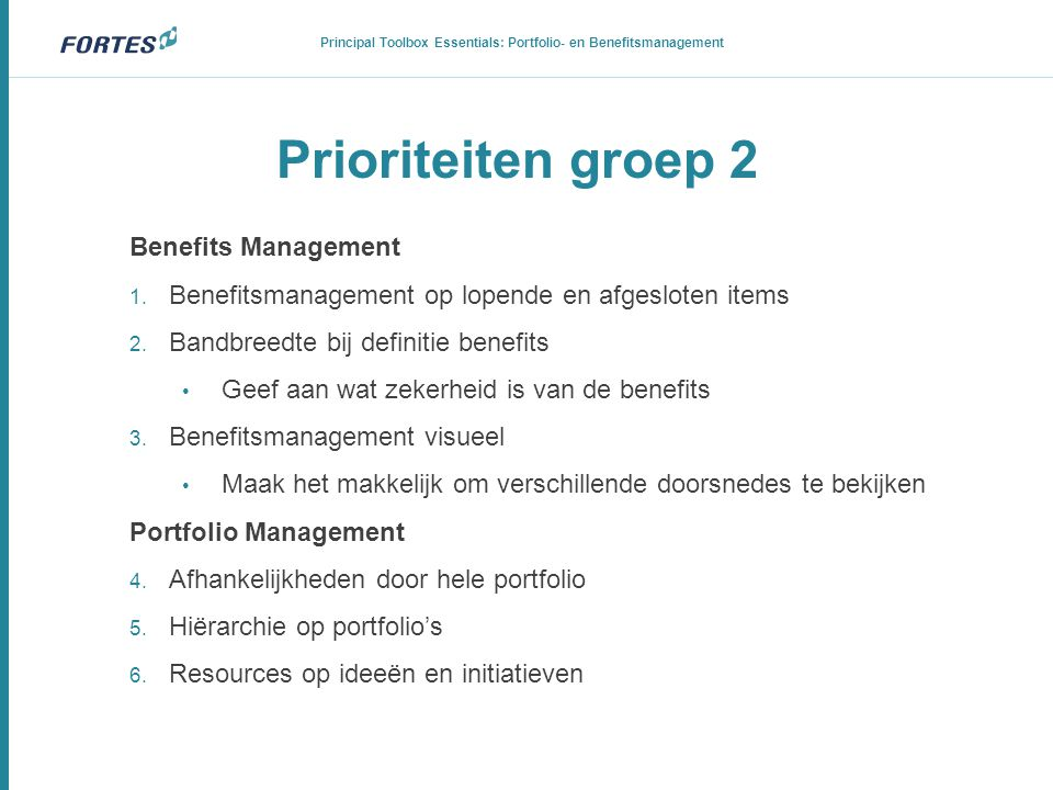 Principal Toolbox Essentials: Portfolio- en Benefitsmanagement