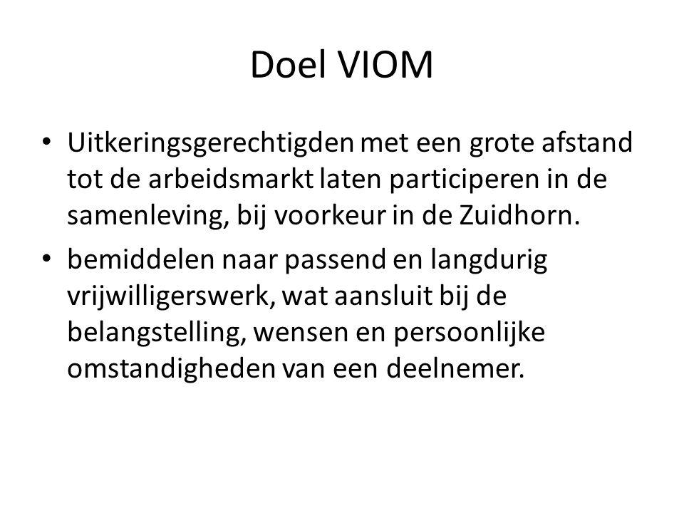 Doel VIOM Uitkeringsgerechtigden met een grote afstand tot de arbeidsmarkt laten participeren in de samenleving, bij voorkeur in de Zuidhorn.