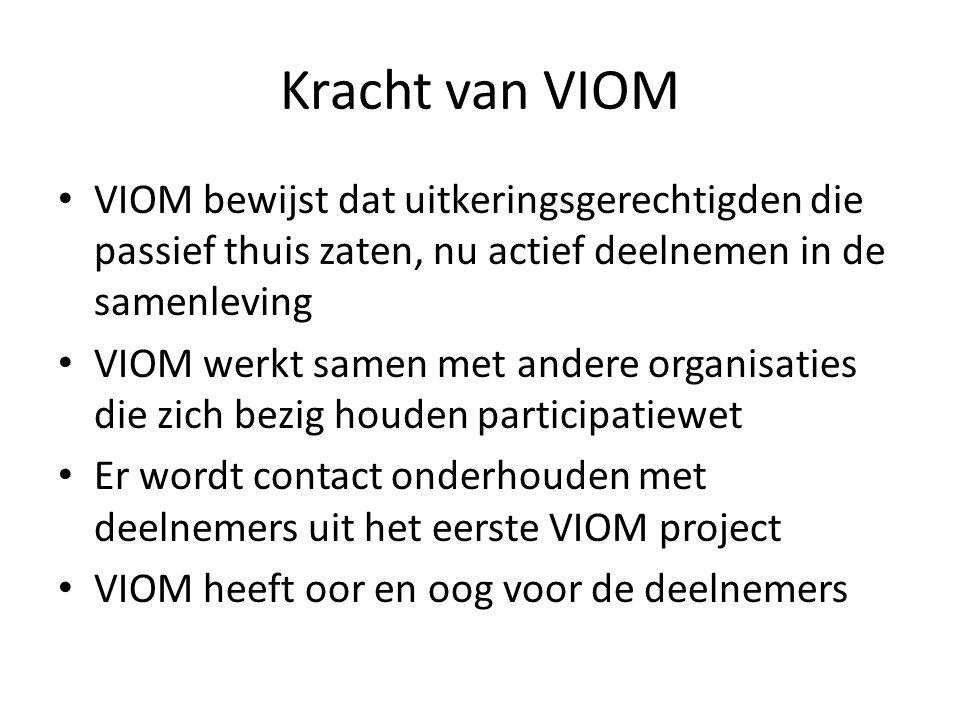 Kracht van VIOM VIOM bewijst dat uitkeringsgerechtigden die passief thuis zaten, nu actief deelnemen in de samenleving.