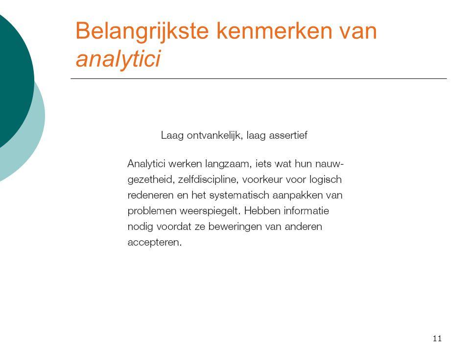 Belangrijkste kenmerken van analytici