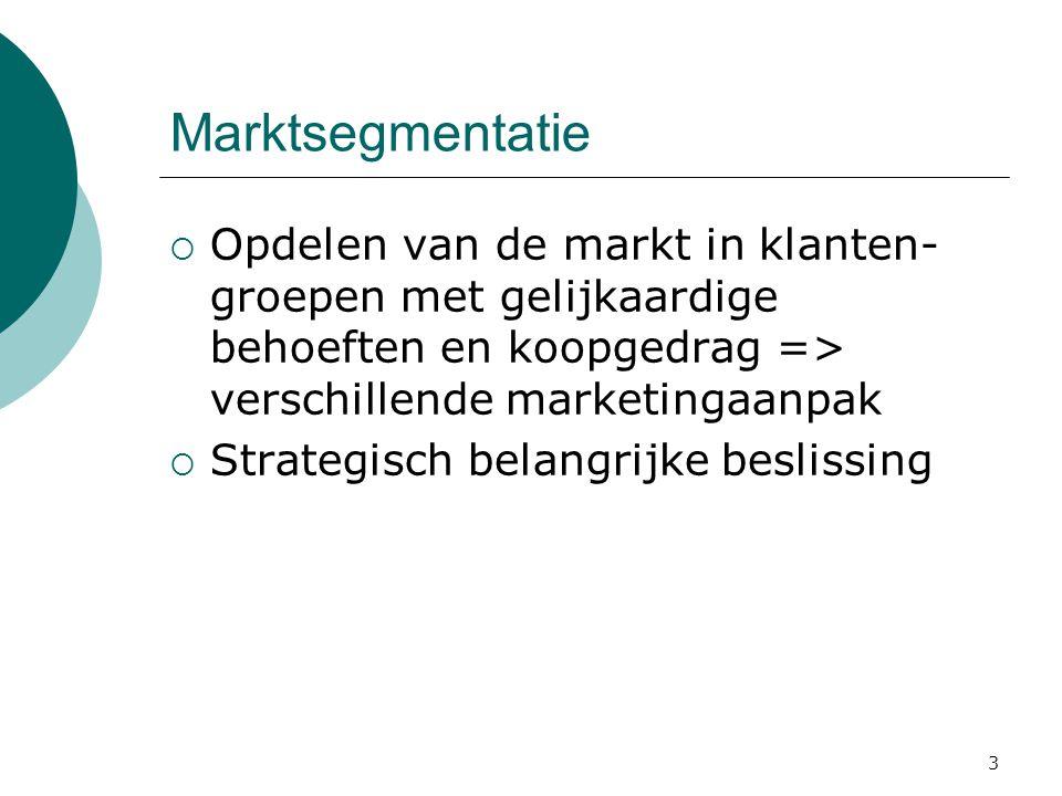 Marktsegmentatie Opdelen van de markt in klanten-groepen met gelijkaardige behoeften en koopgedrag => verschillende marketingaanpak.