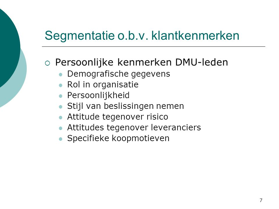 Segmentatie o.b.v. klantkenmerken