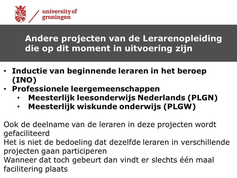 Andere projecten van de Lerarenopleiding die op dit moment in uitvoering zijn