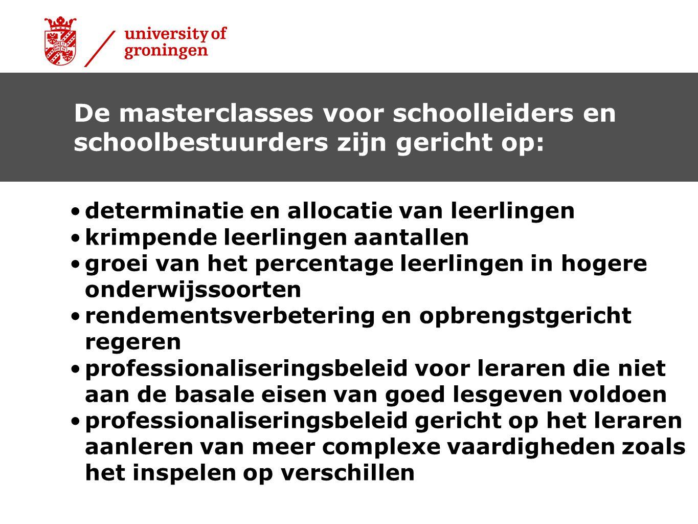 De masterclasses voor schoolleiders en schoolbestuurders zijn gericht op: