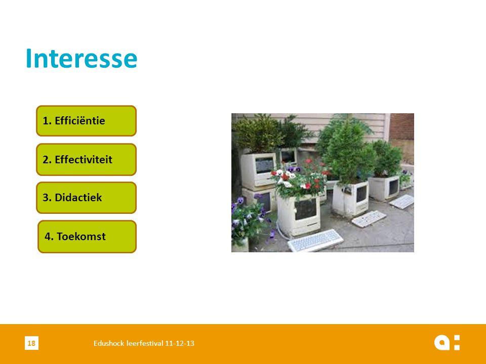 Interesse 1. Efficiëntie 2. Effectiviteit 3. Didactiek 4. Toekomst