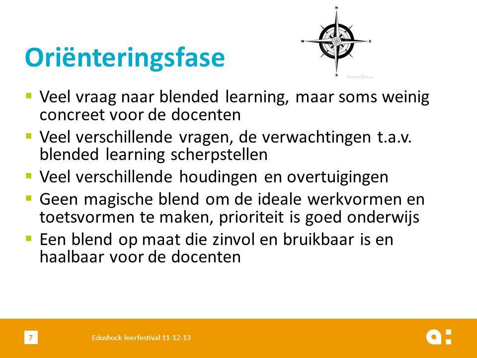 Oriënteringsfase Veel vraag naar blended learning, maar soms weinig concreet voor de docenten.