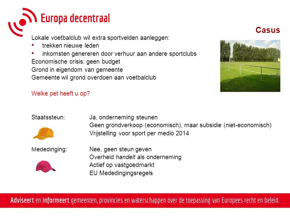 Casus Lokale voetbalclub wil extra sportvelden aanleggen: