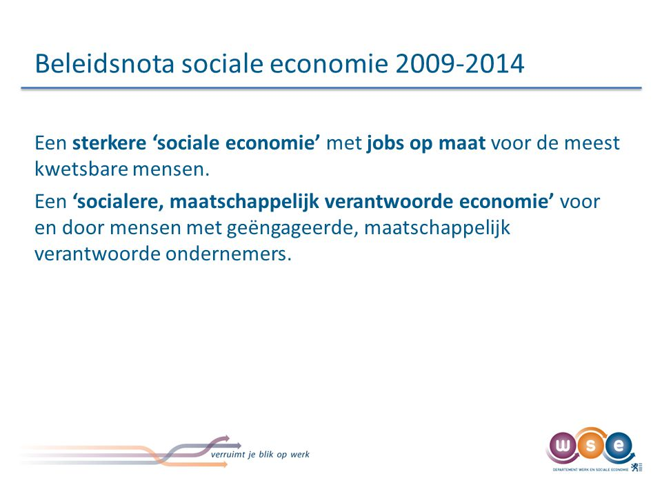 Beleidsnota sociale economie 2009-2014