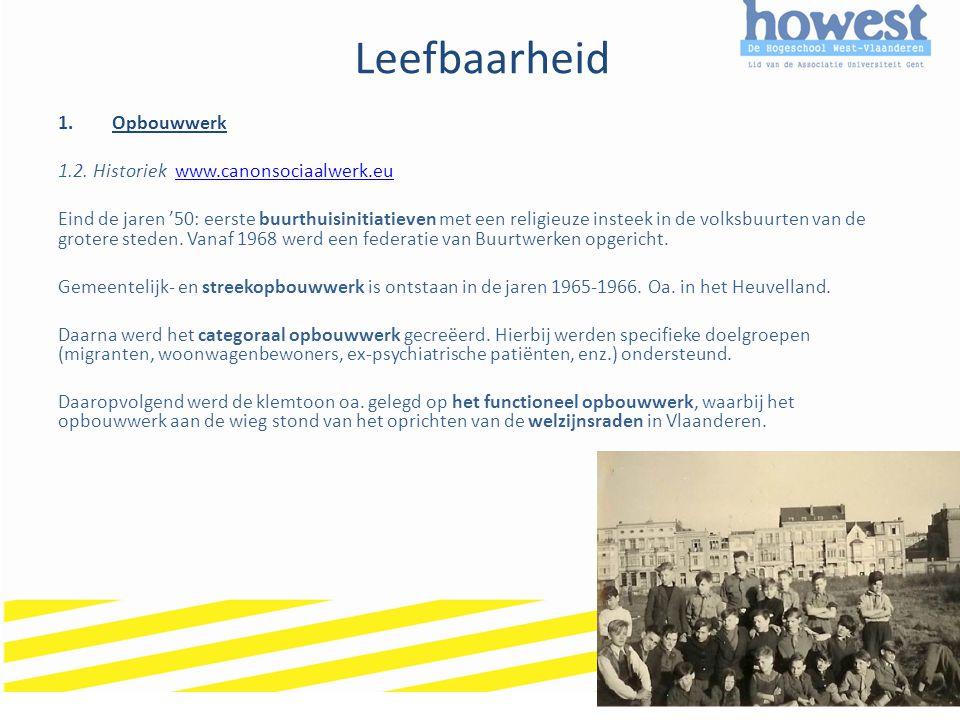 Leefbaarheid Opbouwwerk 1.2. Historiek www.canonsociaalwerk.eu