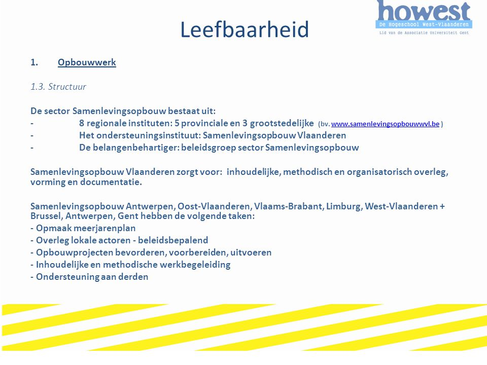 Leefbaarheid Opbouwwerk 1.3. Structuur