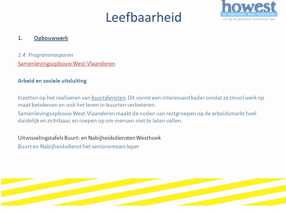 Leefbaarheid Opbouwwerk 1.4. Programmasporen