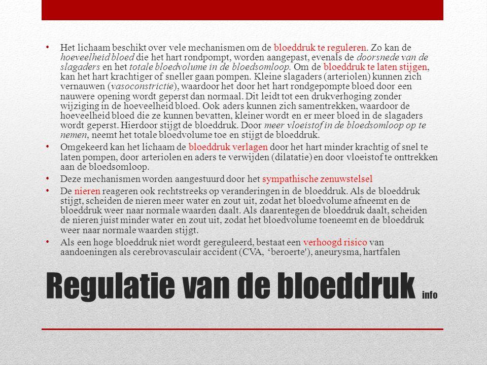 Regulatie van de bloeddruk info
