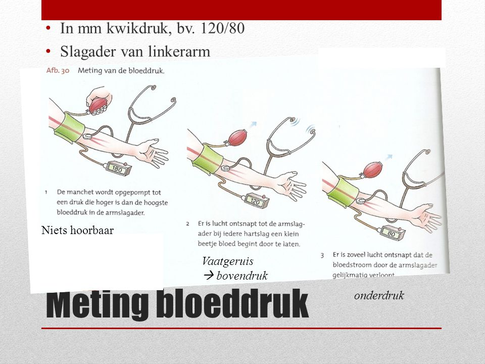 Meting bloeddruk In mm kwikdruk, bv. 120/80 Slagader van linkerarm