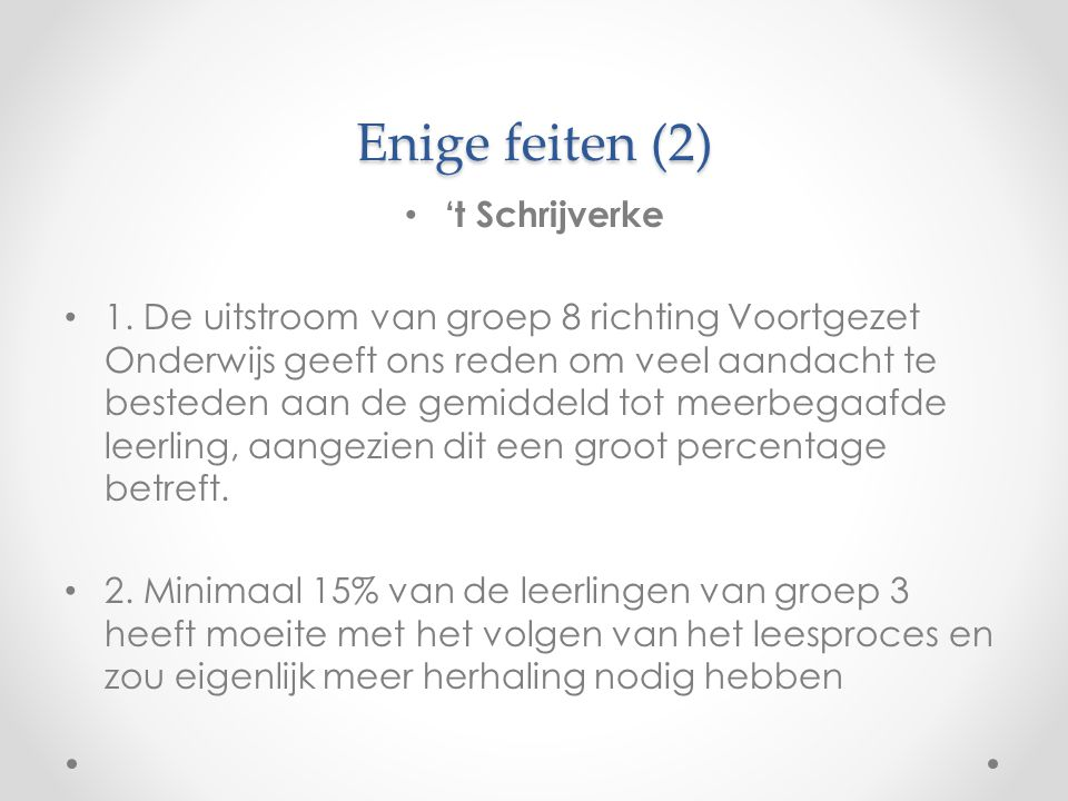 Enige feiten (2) 't Schrijverke