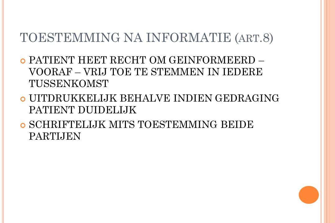 TOESTEMMING NA INFORMATIE (art.8)