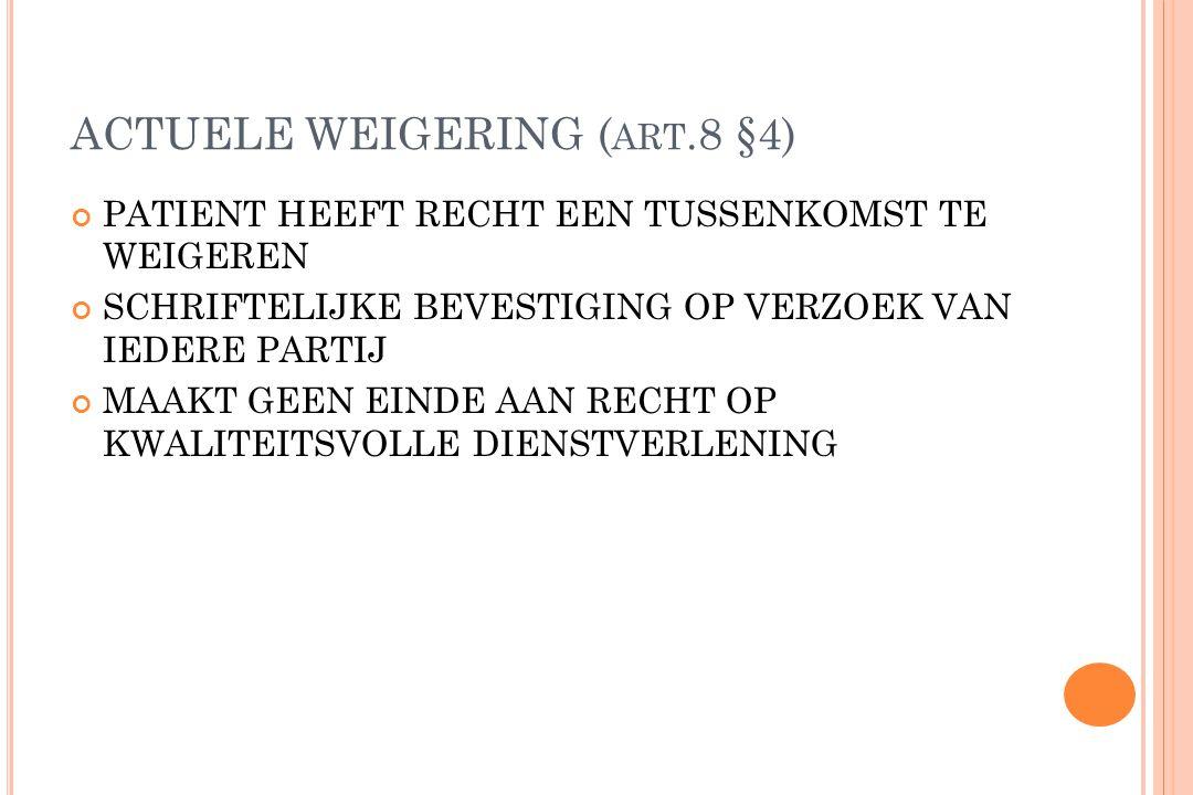 ACTUELE WEIGERING (art.8 §4)