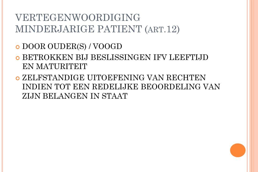 VERTEGENWOORDIGING MINDERJARIGE PATIENT (art.12)