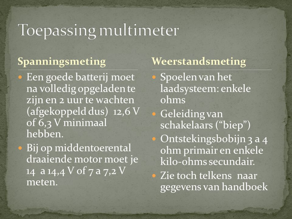Toepassing multimeter