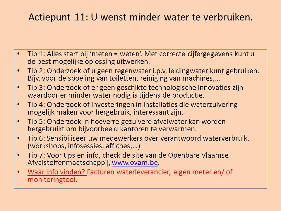 Actiepunt 11: U wenst minder water te verbruiken.