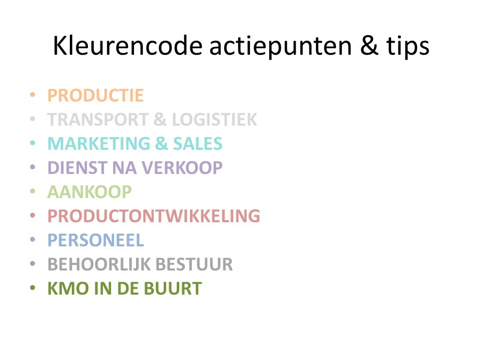 Kleurencode actiepunten & tips