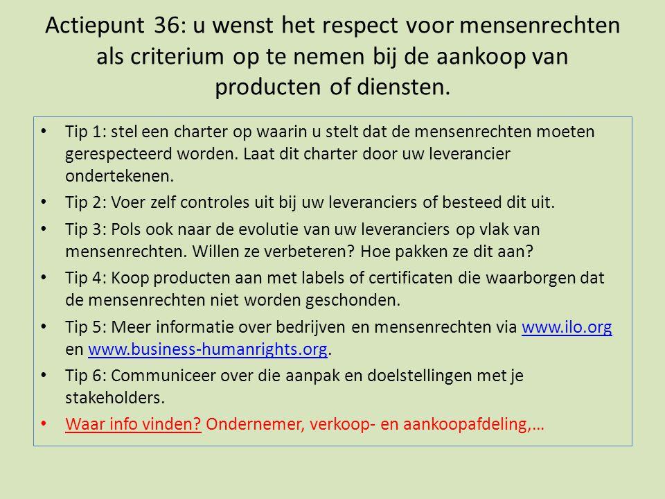 Actiepunt 36: u wenst het respect voor mensenrechten als criterium op te nemen bij de aankoop van producten of diensten.