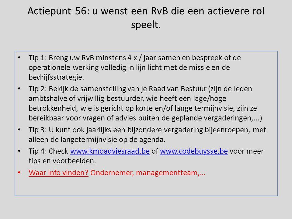 Actiepunt 56: u wenst een RvB die een actievere rol speelt.