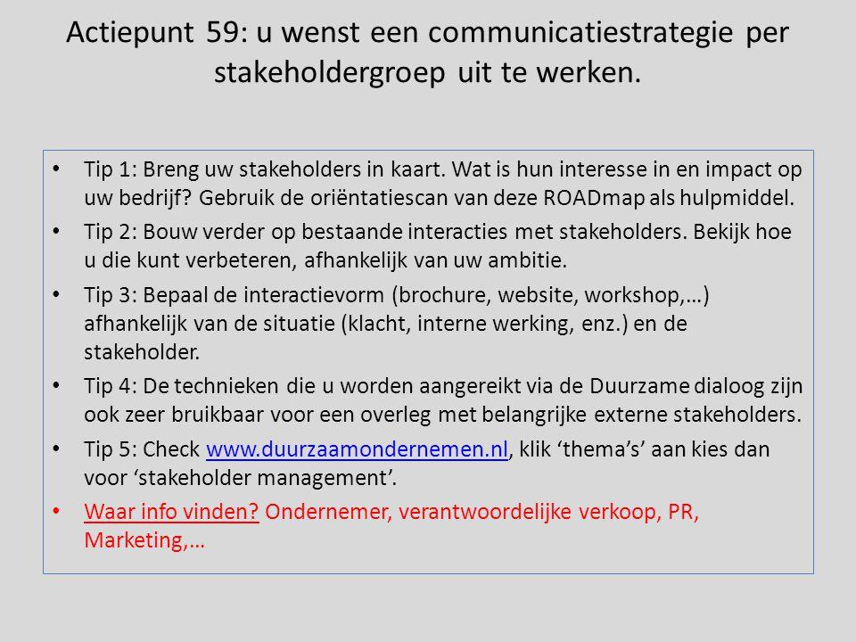 Actiepunt 59: u wenst een communicatiestrategie per stakeholdergroep uit te werken.