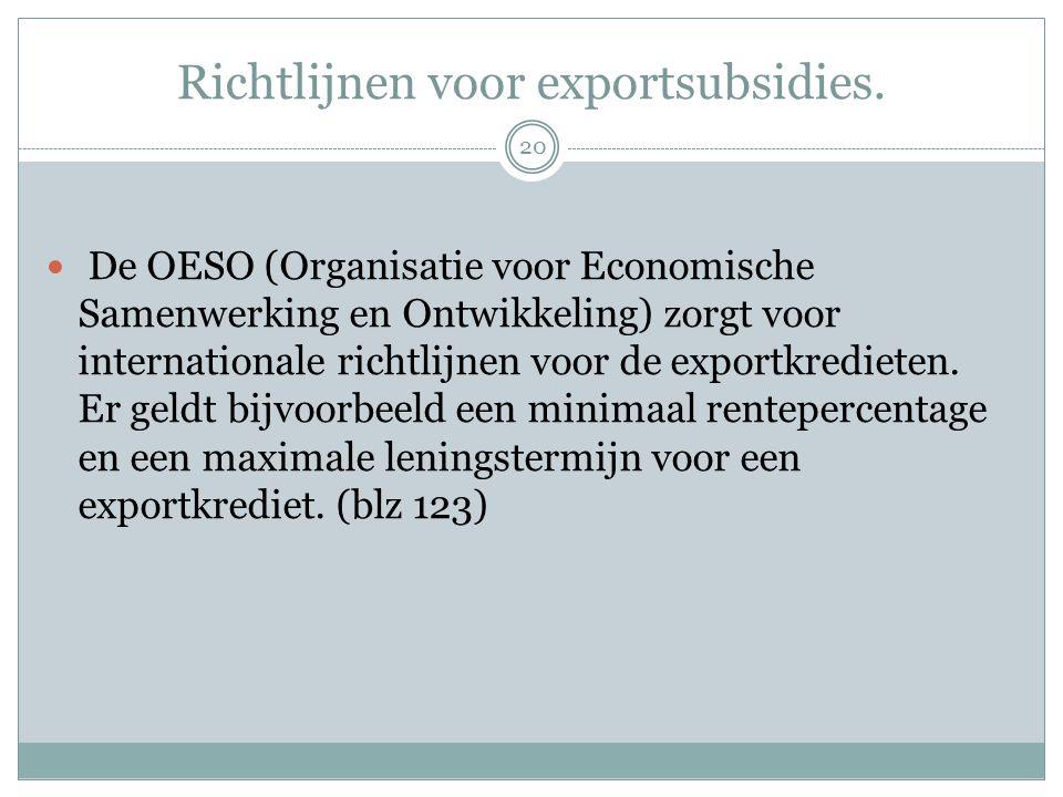 Richtlijnen voor exportsubsidies.