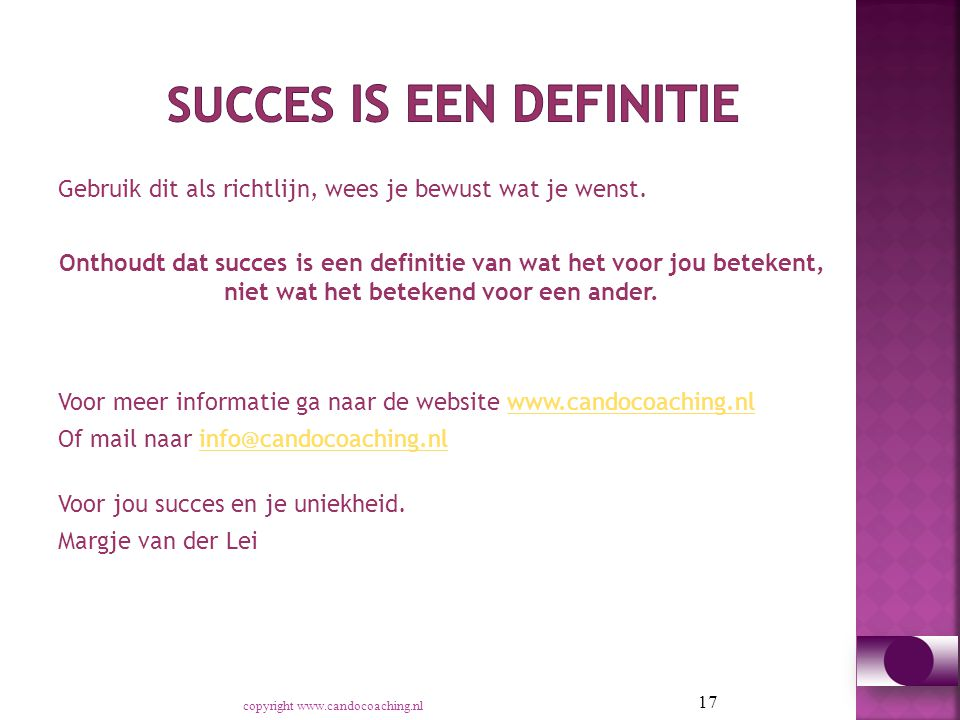 Succes is een definitie