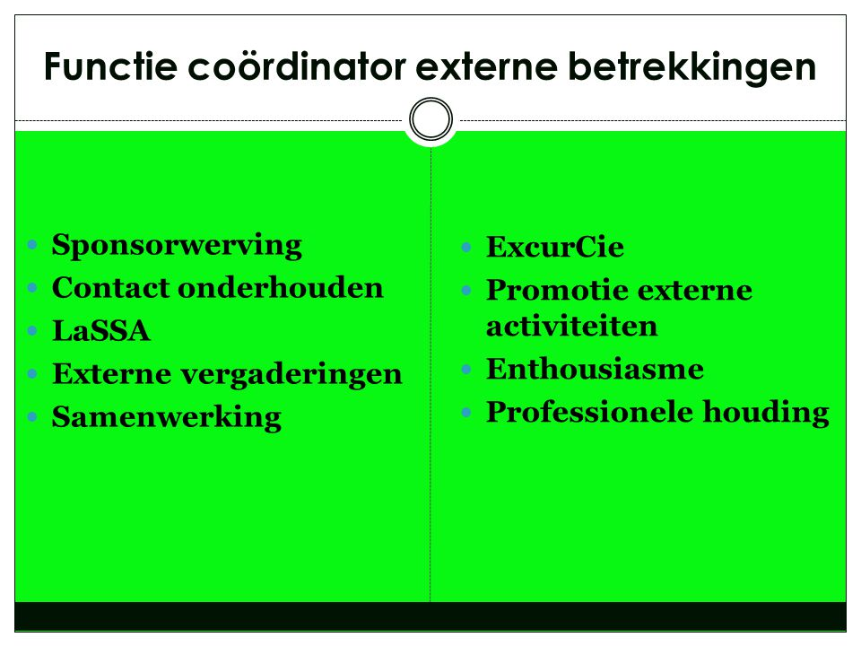 Functie coördinator externe betrekkingen