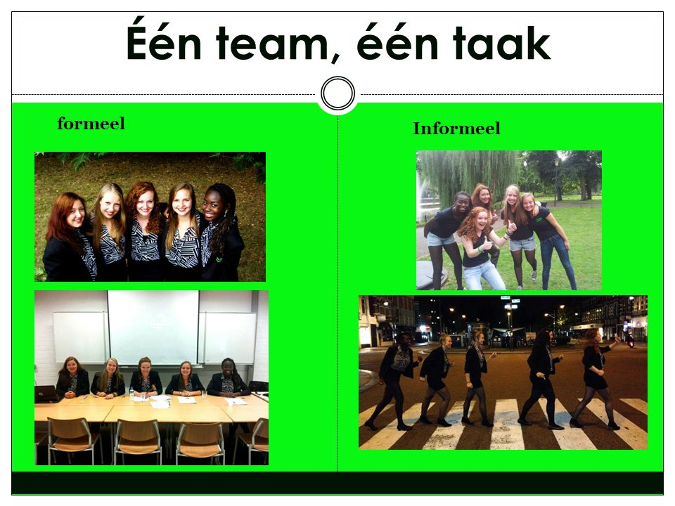 Één team, één taak formeel Informeel