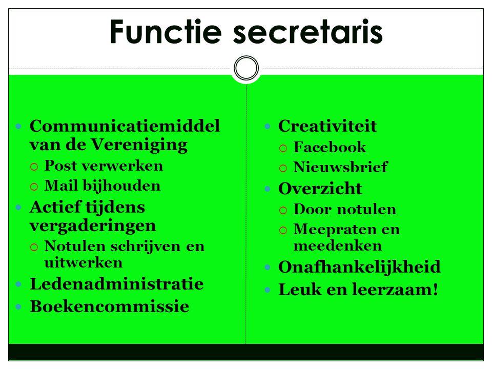 Functie secretaris Communicatiemiddel van de Vereniging