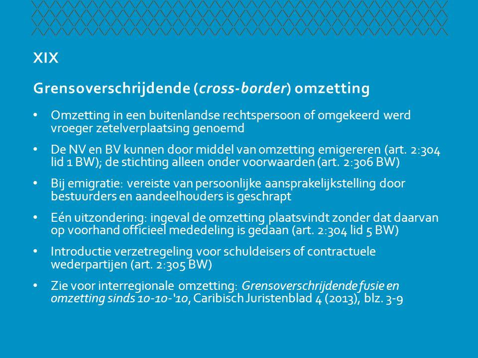 XIX Grensoverschrijdende (cross-border) omzetting