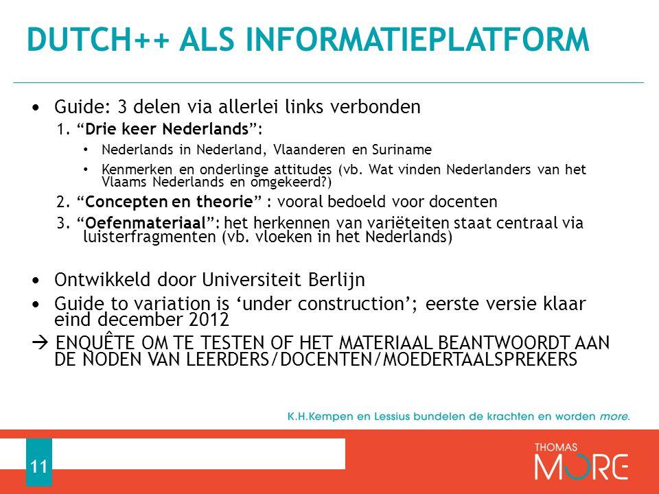 DUTCH++ als informatieplatform