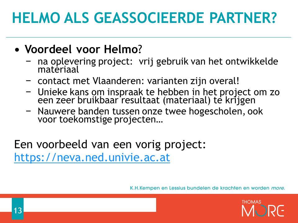 Helmo als geassocieerde partner