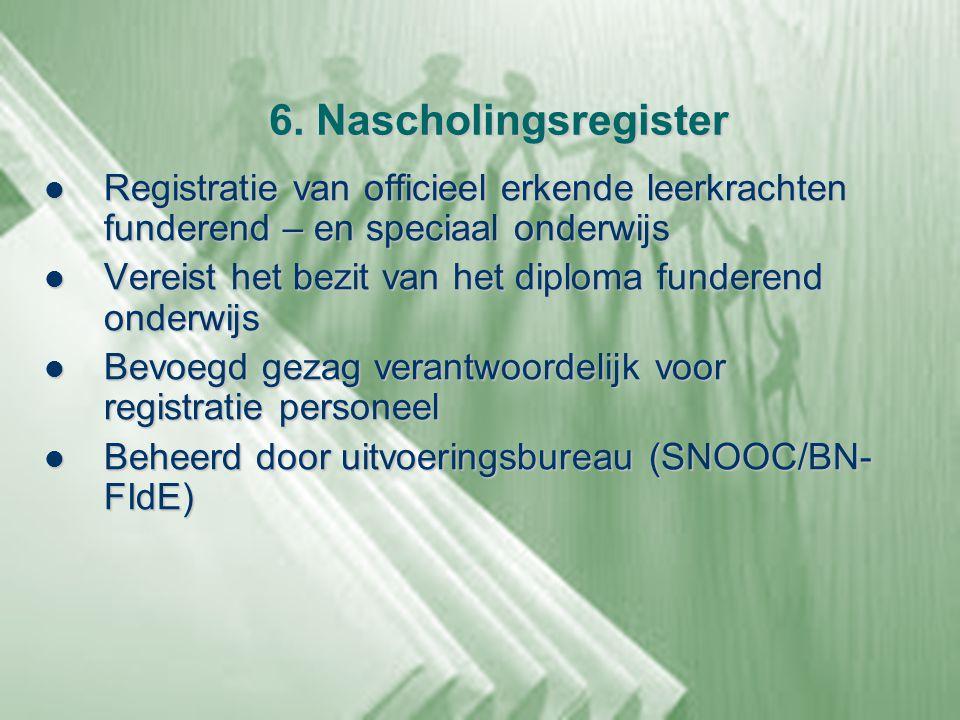 6. Nascholingsregister Registratie van officieel erkende leerkrachten funderend – en speciaal onderwijs.