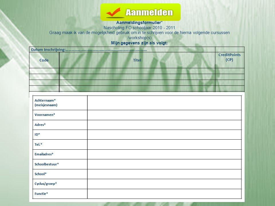 Aanmeldingsformulier