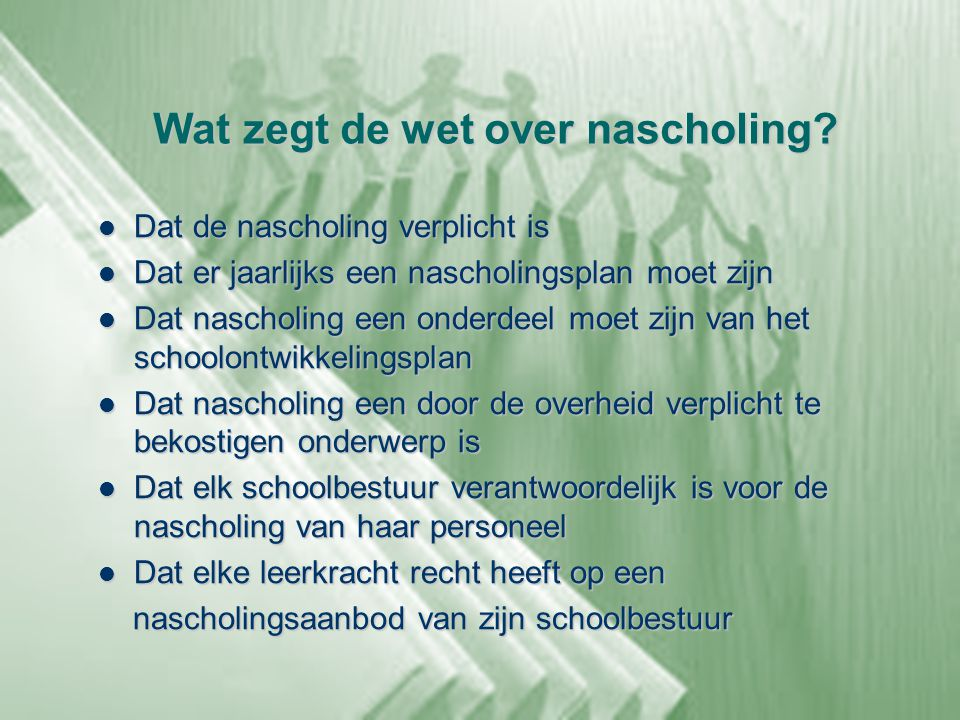 Wat zegt de wet over nascholing